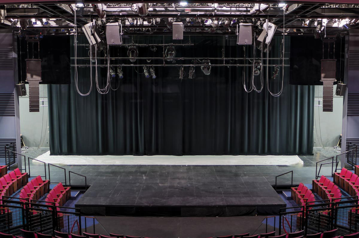 Much of the audio wiring is there to support the PA system and its complex left-right configurations, as well as to provide audio and video ties to the Neuhaus Theatre, a black box-style theatre in another part of the building.