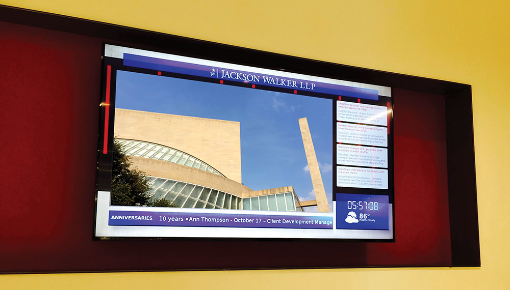 Digital signage content features local and world news.
