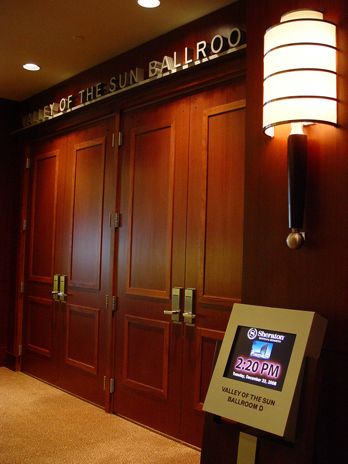Digital signage in front of a ballroom, installed by CCS Presentation Systems.