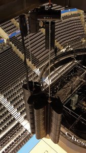 Motorized hoists were specified for the main and sub arrays. Shown here are one of the two larger arrays covering the ends of the arena.