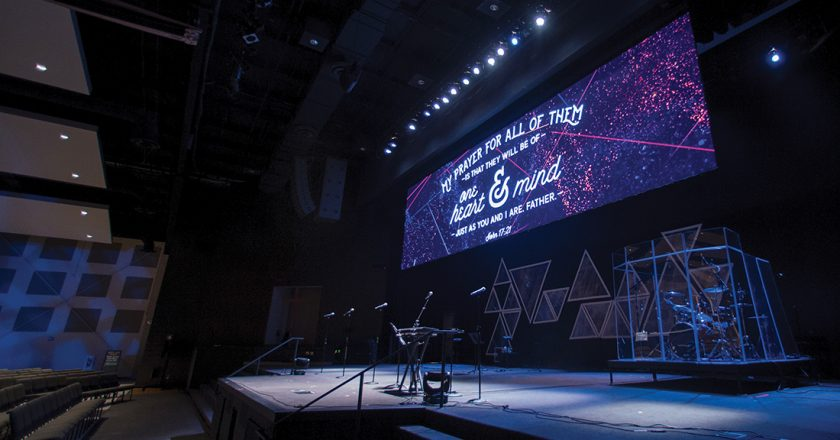 Mountain Christian's main visual feature is a stage-dominating 38'x10' LED videowall that can be split into three sections.