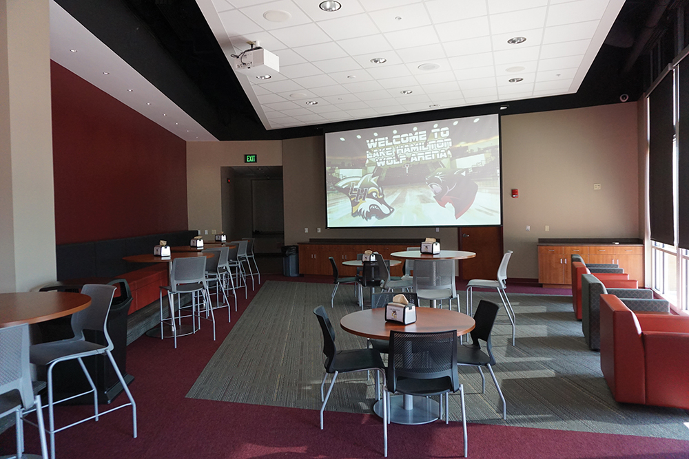 Like many of the arena's interior spaces, the VIP lounge can also double as a training classroom, with projection video and ceiling audio.