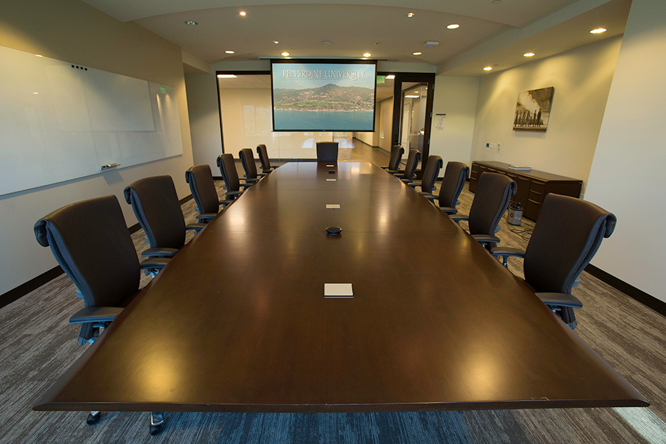 Conference rooms incorporate a wireless microphone, a PTZ camera, computer connectivity and videoconferencing.
