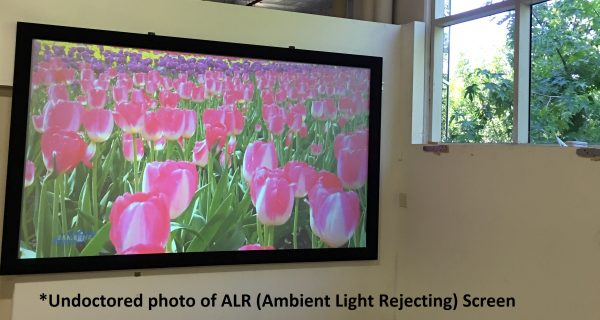 Undoctored photo of an ALR (Ambient Light Rejecting) screen.