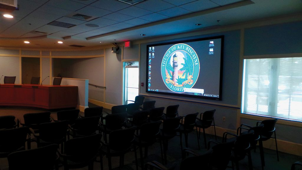 New projection hardware and screens provide brighter and more engaging images for both audience and presenters in Key Biscayne's newly redesigned council chambers.