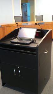 A redesigned and relocatable podium puts both media inputs and presentation control at the presenter's fingertips.