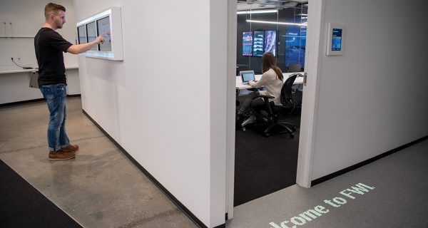 The digital carpet in action at Four Winds Interactive's headquarters in Denver.