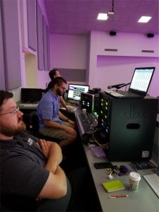 The FOH control position houses the digital console and presentation switchers.