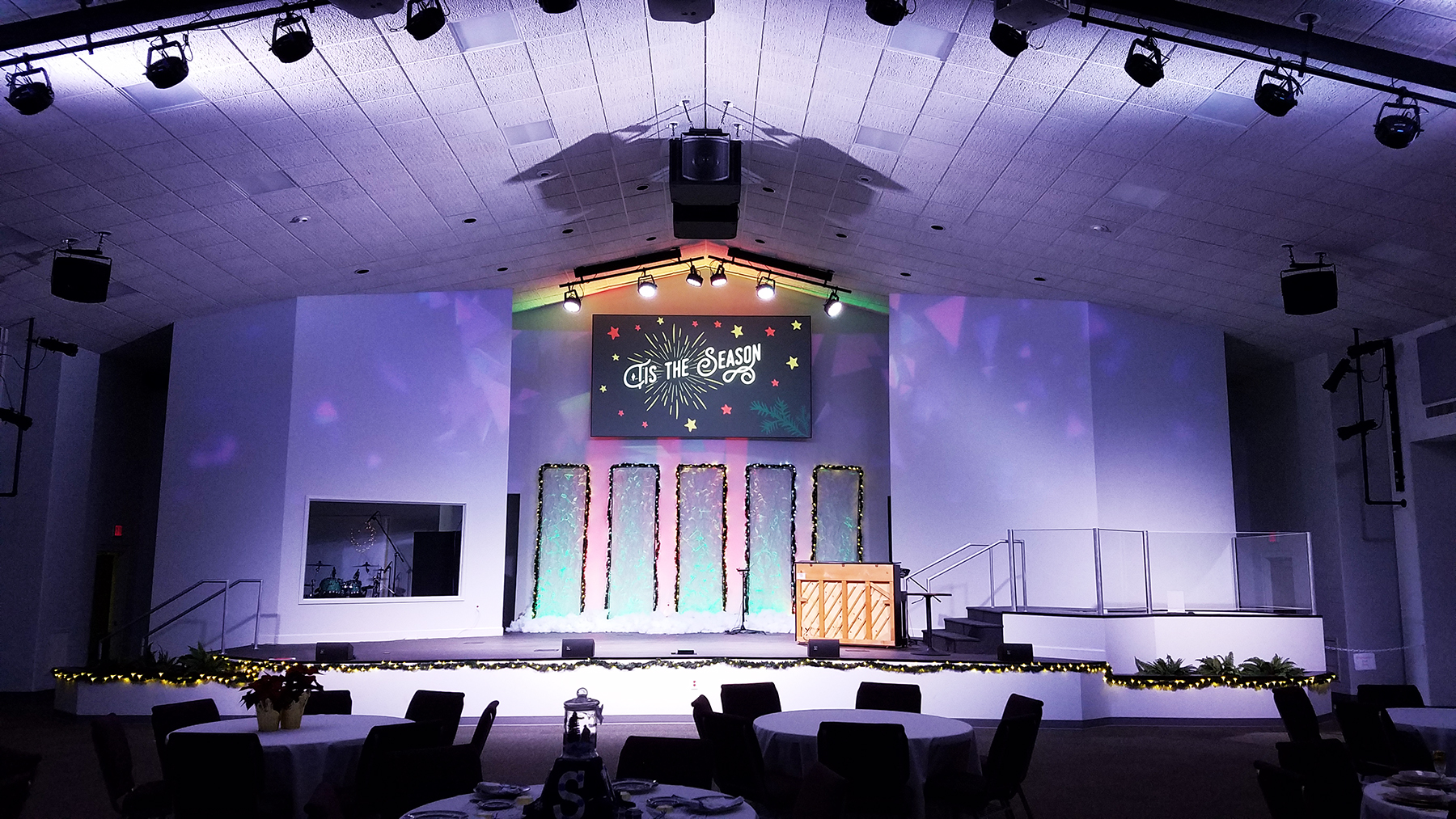 The church's new main PA array is comprised of three 15-inch speakers in an L-C-R configuration that, along with two rear speakers, provides a full 5.1 surround system.