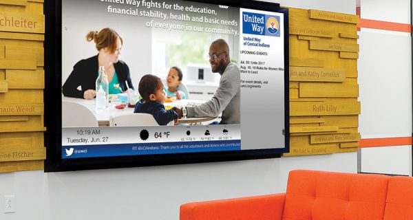 UWCI's new location features digital signage displays to inform staff and visitors of its mission and its progress toward goals.