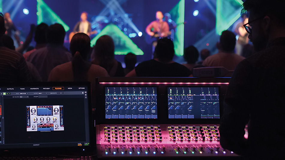 Dante-enabled mixing consoles were added to the front of house and monitor mixing positions, as well as the control room.