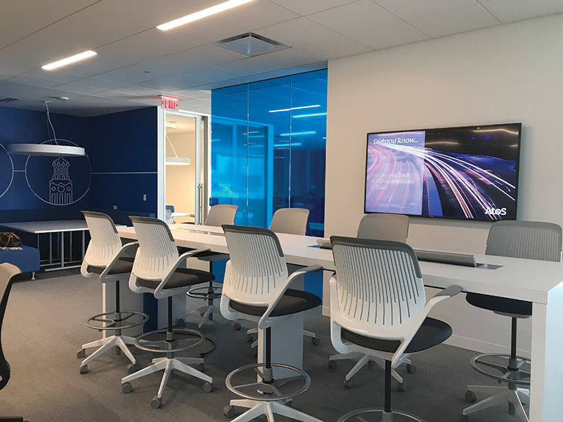 """""""Open Share"""" rooms have seating for various-size groups and sound masking to diminish and mask speech intelligibility from surrounding areas."""