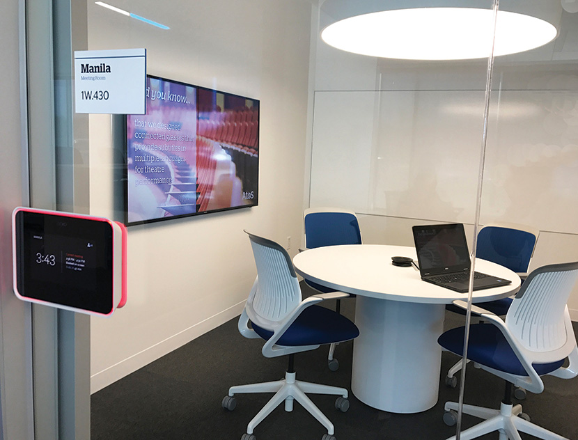 Room schedule displays are installed outside small and large meeting rooms.