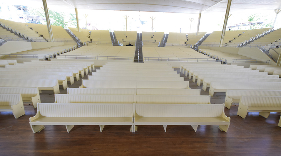 The venue was measured acoustically and the computer models simulated the venue's seating areas, both full and empty. That was critical, because the seating remains in the form of hardwood pews. When empty, the acoustical reflectiveness is considerable, and it's dramatically different from the room's acoustical characteristics when full.