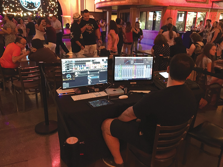 Plaza Mariachi's front-of-house position is on the dancefloor, with conduit cabling to the PA and lighting, and with iPad control that allows the mixer to listen in various areas of the room.