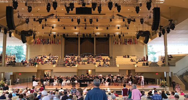 The main PA system is configured to cover the main seating area and the bleachers behind the stage.