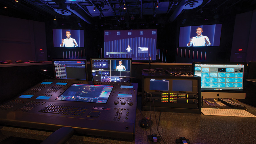 The Peachtree City campus features multiple workstations dedicated to onscreen graphics, and there are dedicated graphics operators for both the in-house and online streams.