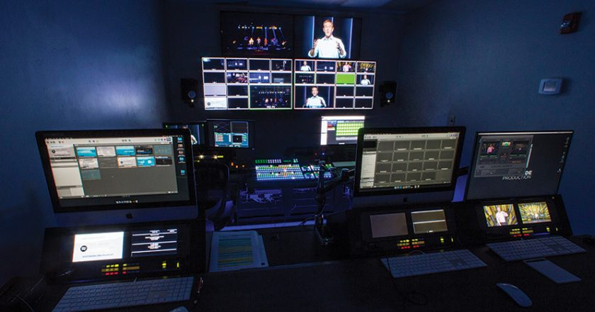 The venue's new control room is set up in much the same way as a conventional broadcast control room, with rows of workstations all oriented toward a single multiviewer wall.
