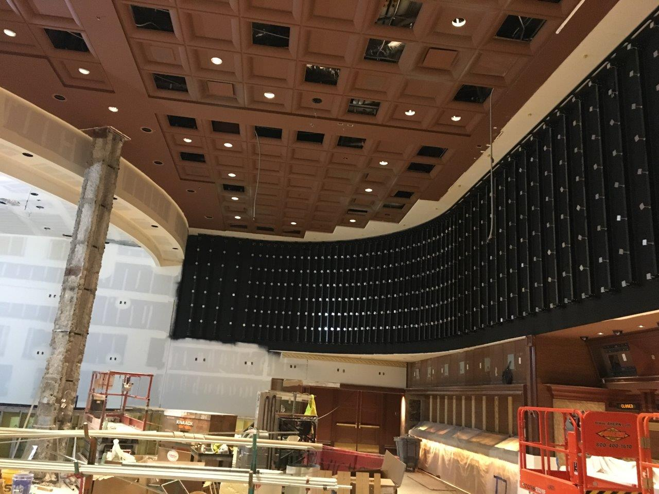 The LED wall had to follow the contour of the original sportsbook, which entailed two roughly 90-degree turns, each with a slightly different degree of radius.