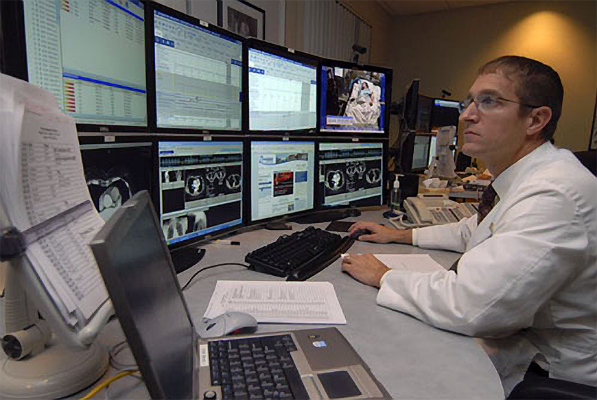 LVHN's advanced ICU (AICU) employs network-based streaming and integrated audiovisual systems that enable critical-care specialists, known as intensivists, in other locations to see the patient and talk with doctors, nurses and family members in the patient's room.