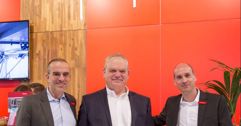 Martin Berger, CSO of Riedel Communications; Arie van den Broek, CEO of Archwave; and Thomas Riedel, Founder and CEO of Riedel Communications