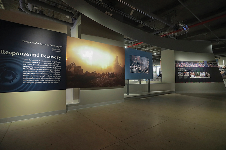 Selected galleries in the 9/11 Tribute Museum employ directional speakers to focus the audio in viewing areas and limit interference with neighboring galleries.
