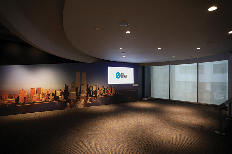 The open presentation space of the Storytelling Gallery provides a space for groups to view recordings or experience live presentations from those whose lives were affected by the events of September 11, 2001.