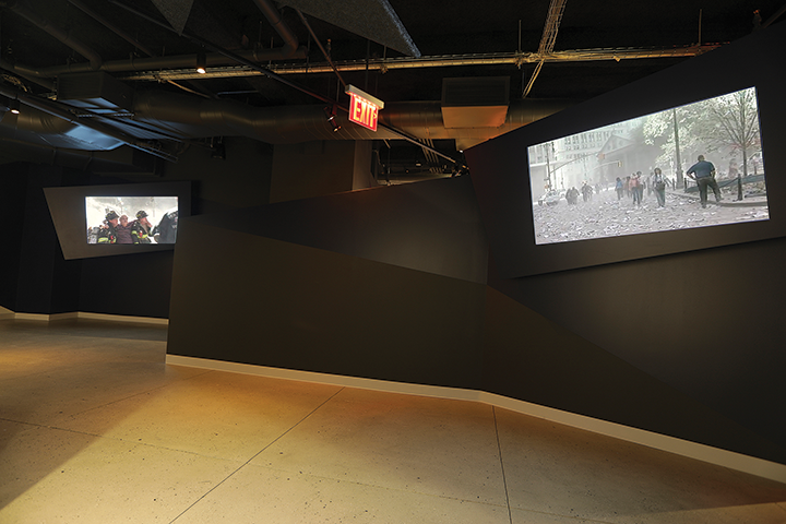 Impressive 65-inch video displays and carefully oriented pendant speakers in the September 11, 2001, gallery help visitors experience the chaos that led up to the collapse of the World Trade Center towers.