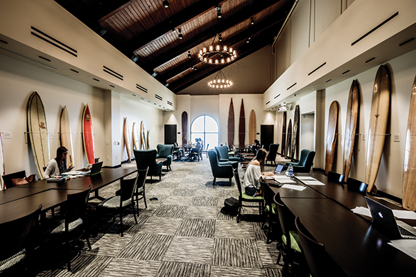 The Payson Library retains a very SoCal architectural feel, as illustrated by a new flex space called the Surfboard Room, with a collection of historic surfboards, showcasing local culture.