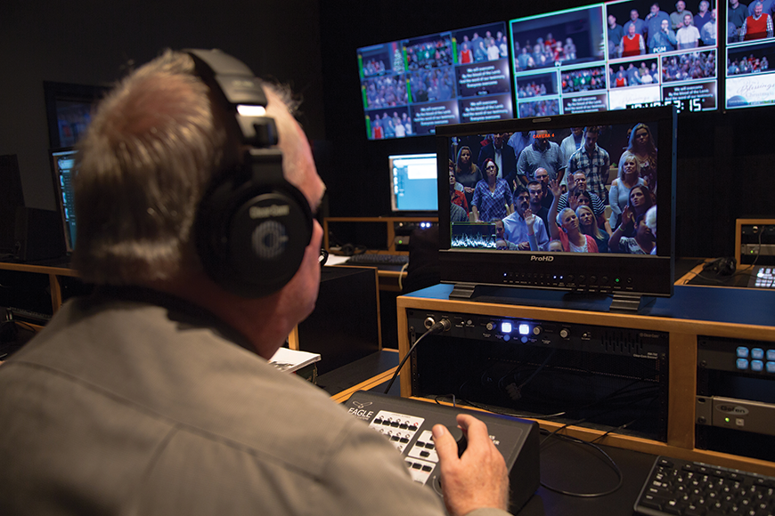 The video control room was reoriented by 90 degrees and outfitted with new furniture to accommodate the new HD-capable equipment and create a more streamlined workflow for the production staff.