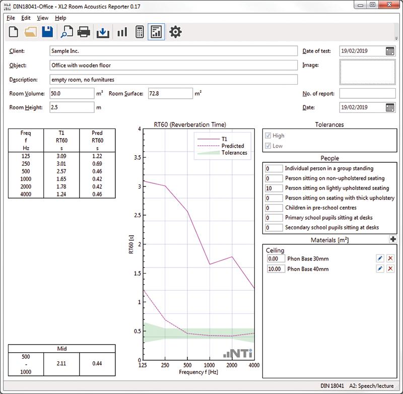 NTI Audio Room Acoustics Reporter PC Software