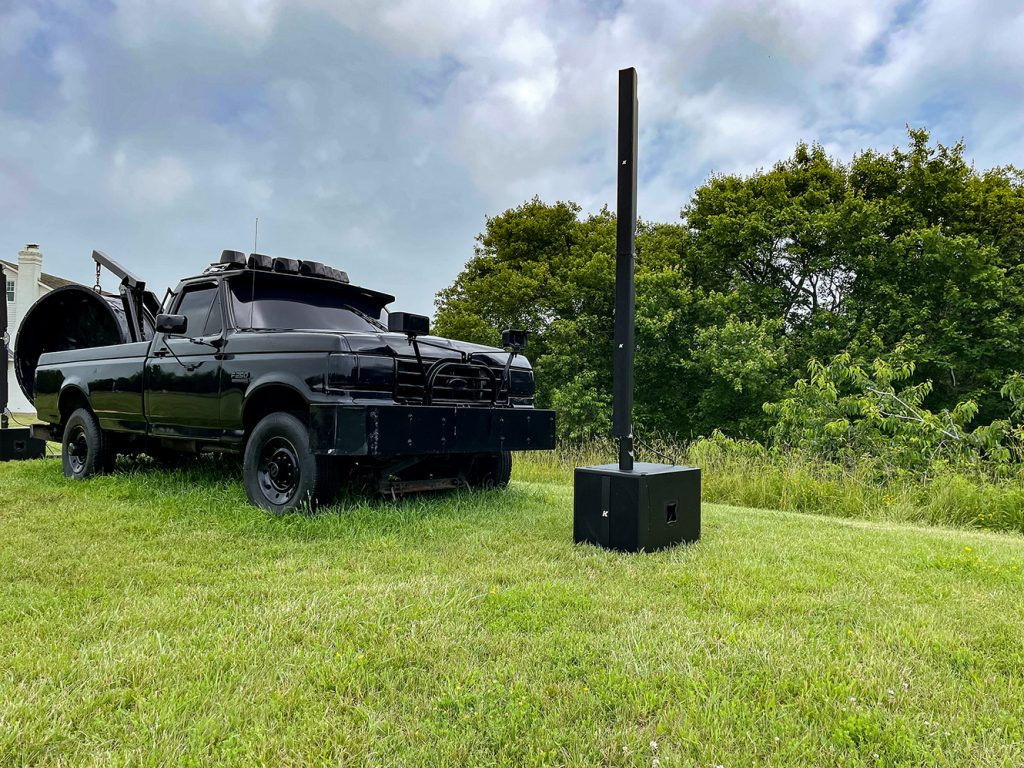outdoor k-array audio system with pickup truck at the ranch long island