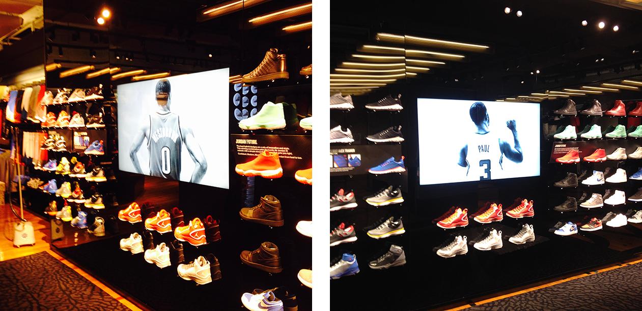 interactive video displays at the nike jordan store