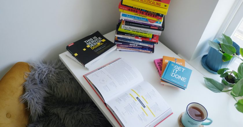 desk with stacks of books and a cup of tea