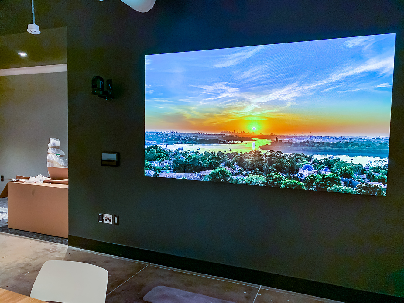 A Samsung videowall installed in Twitch's NYC HQ All Hands event space