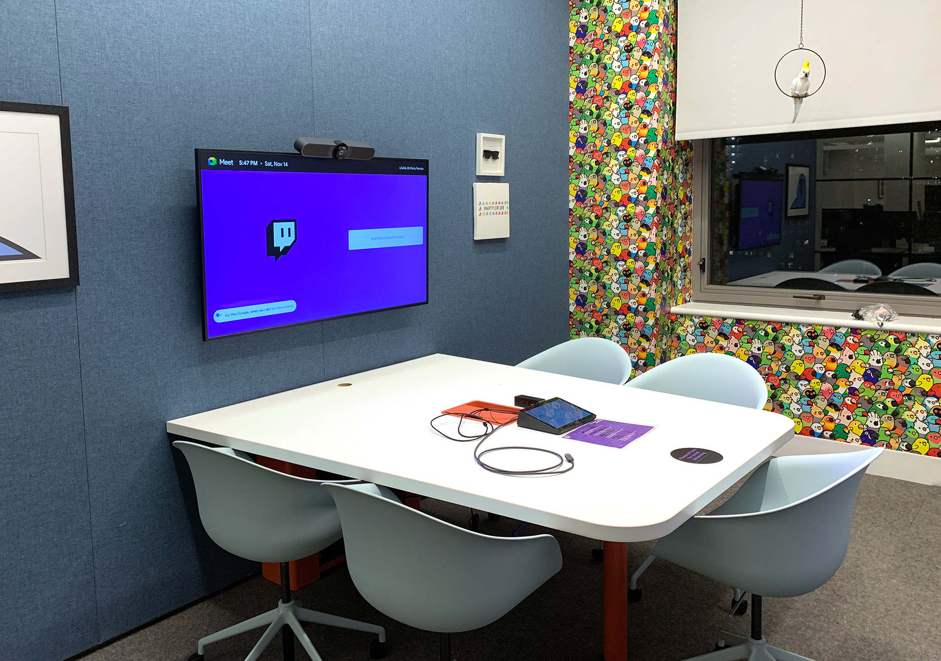 Conference room with a digital display at Twitch HQ 2.0