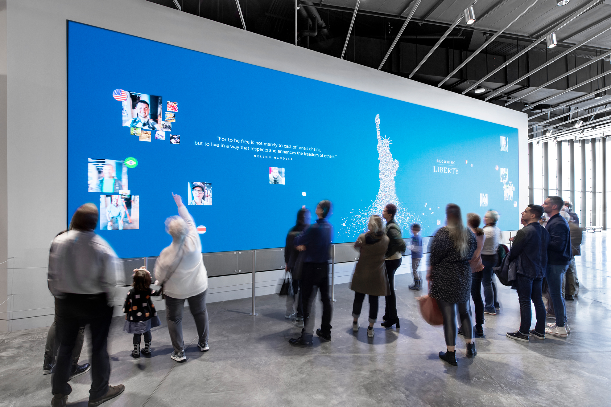 videowall at the statue of liberty museum