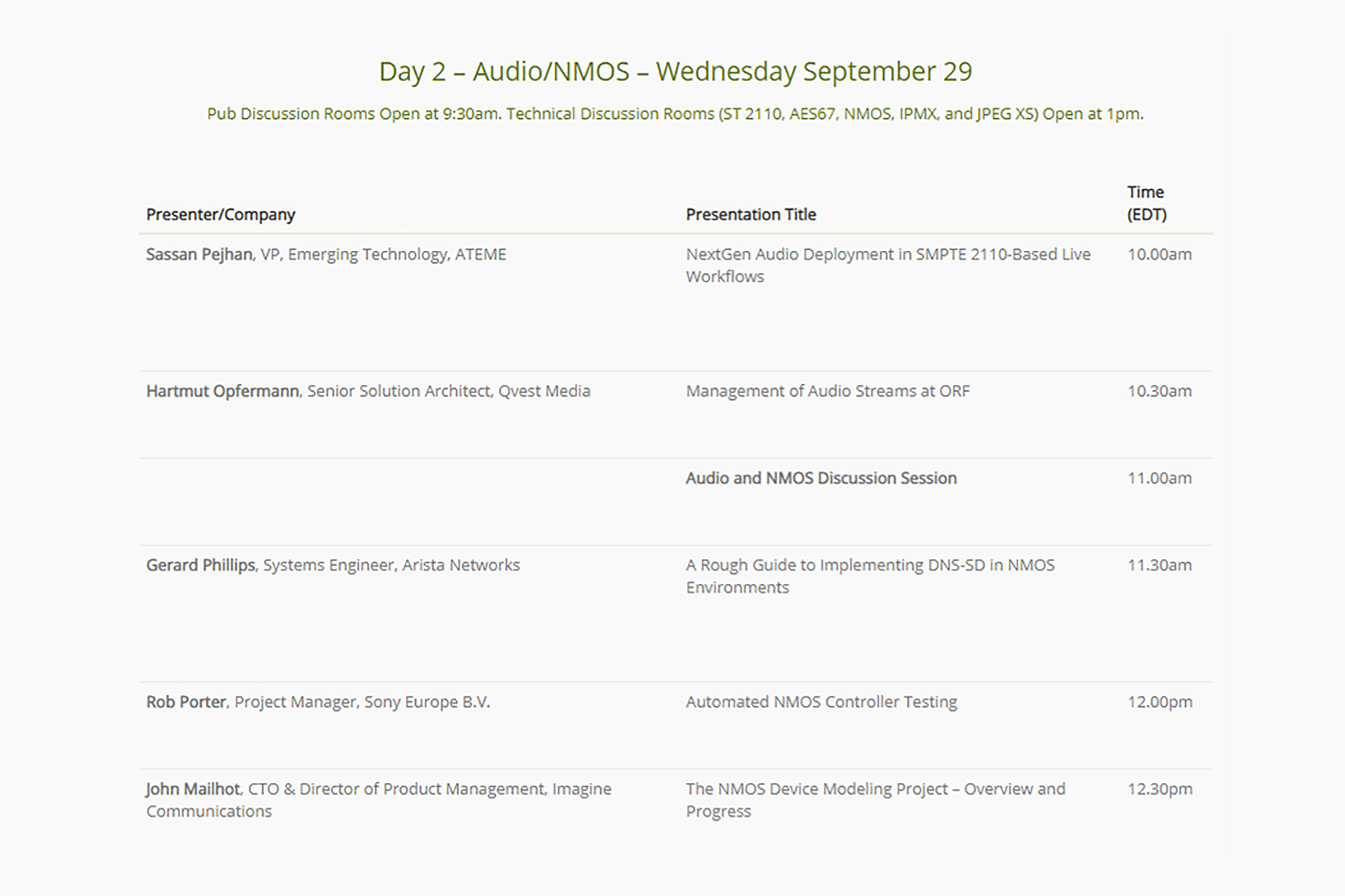 The Alliance for IP Media Solutions (AIMS) IP Oktoberfest 2021 day 2 speaker lineup and presentation schedule