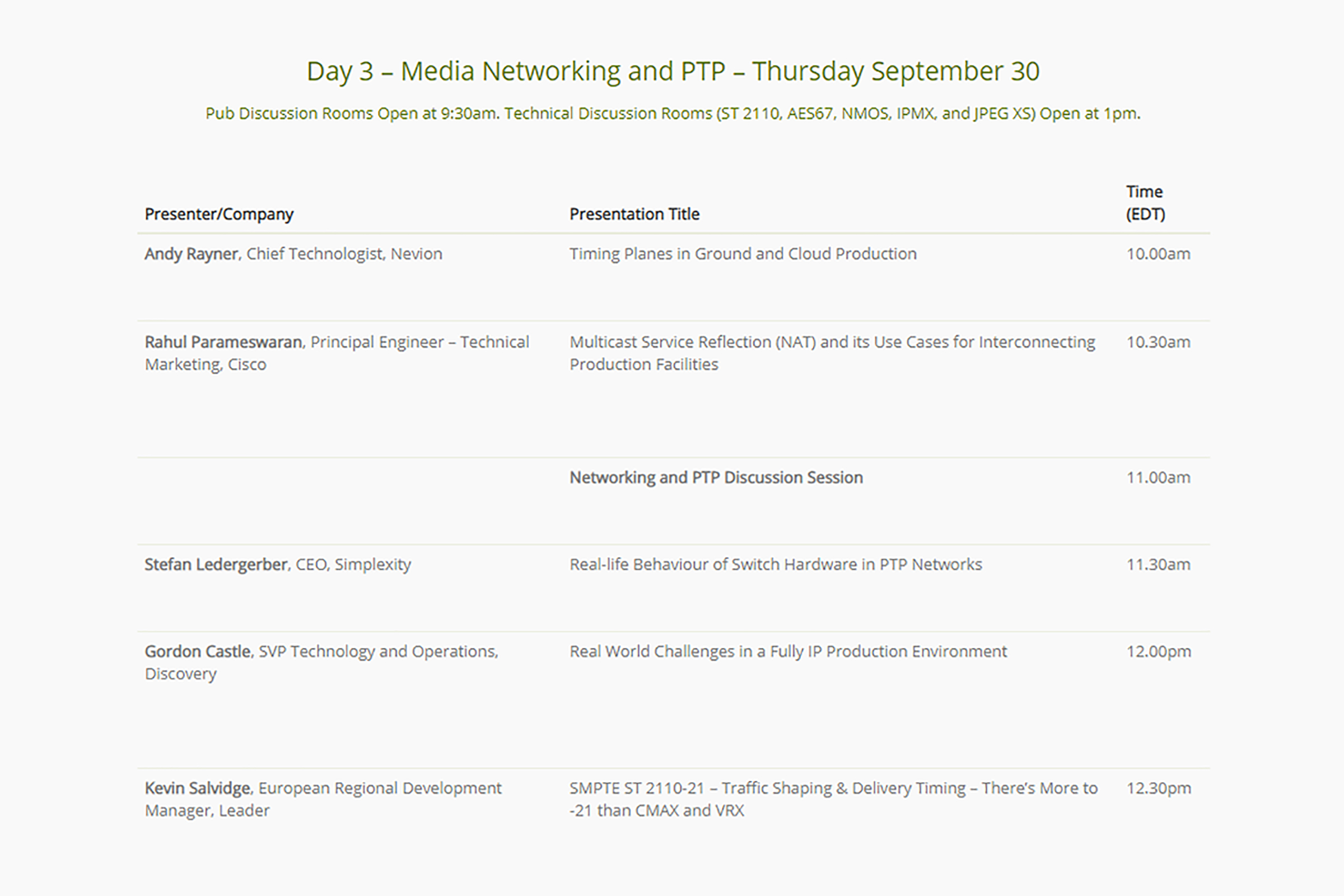 The Alliance for IP Media Solutions (AIMS) IP Oktoberfest 2021 day 3 speaker lineup and presentation schedule