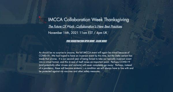 imcaa collaboration thanksgiving webinar week 2021 info